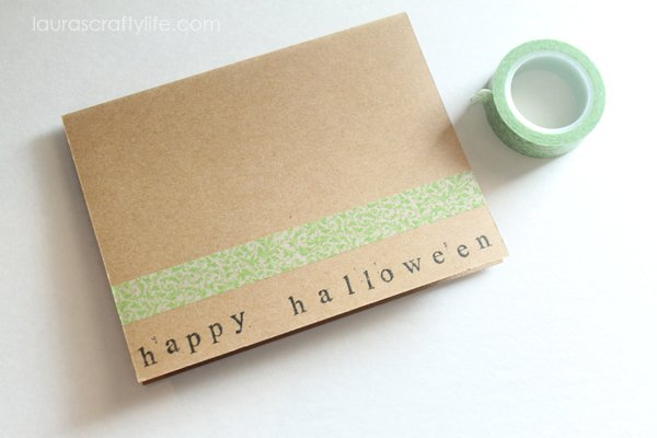 Add a strip of green washi tape to card