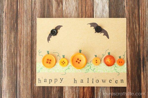Button bat and pumpkin Halloween card
