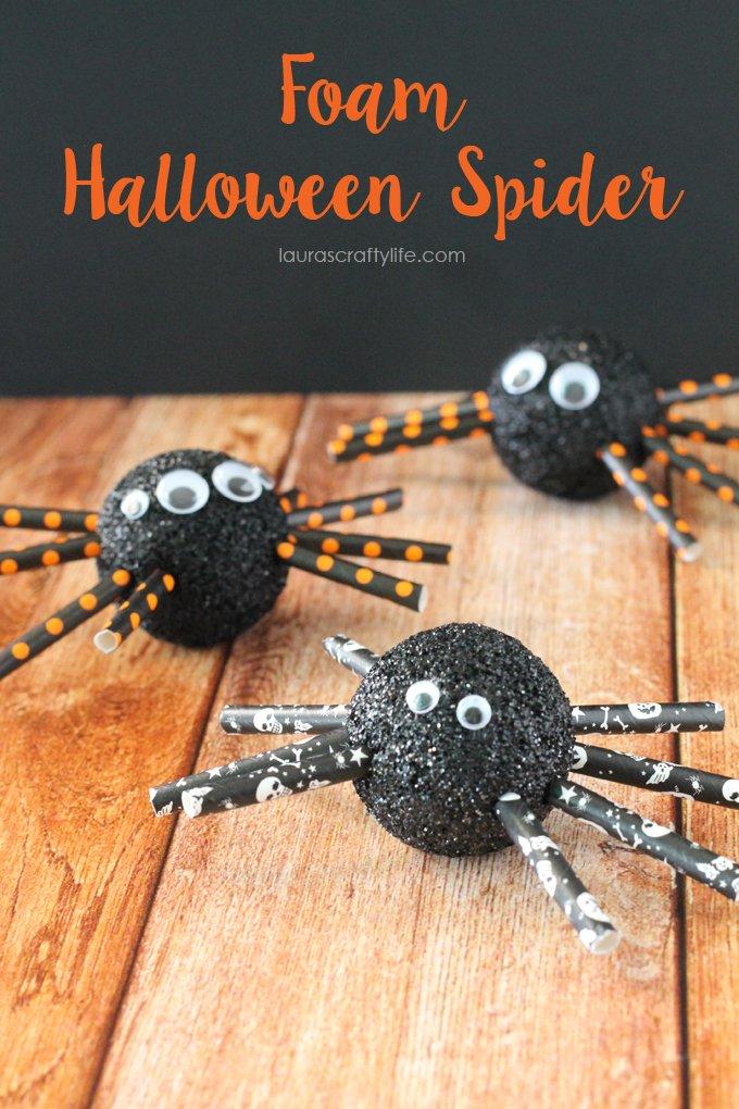 Foam Halloween Spider - Laura's Crafty Life