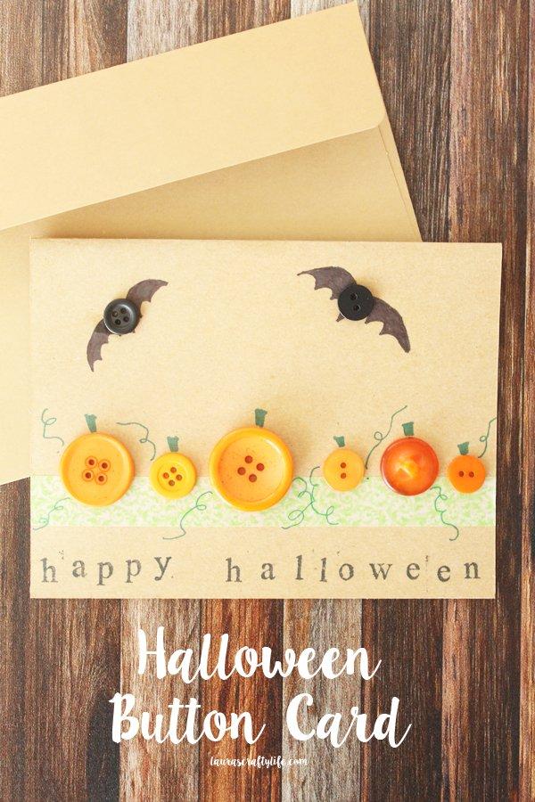 Halloween Button Card (Craft Lightning) - Laura's Crafty Life