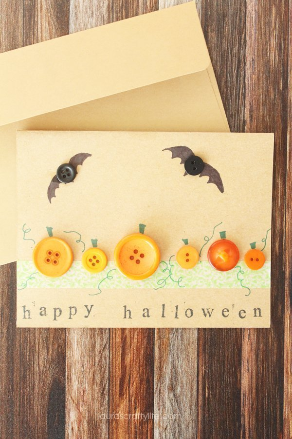 Halloween Button Card - Laura's Crafty Life