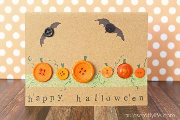Halloween Pumpkin and Bat Button Card