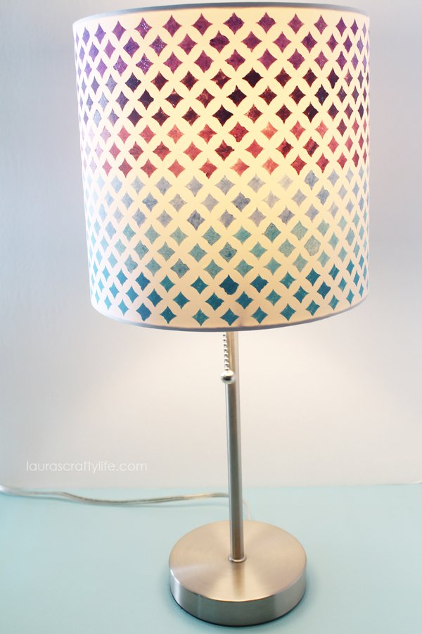 Lighted painted lampshade