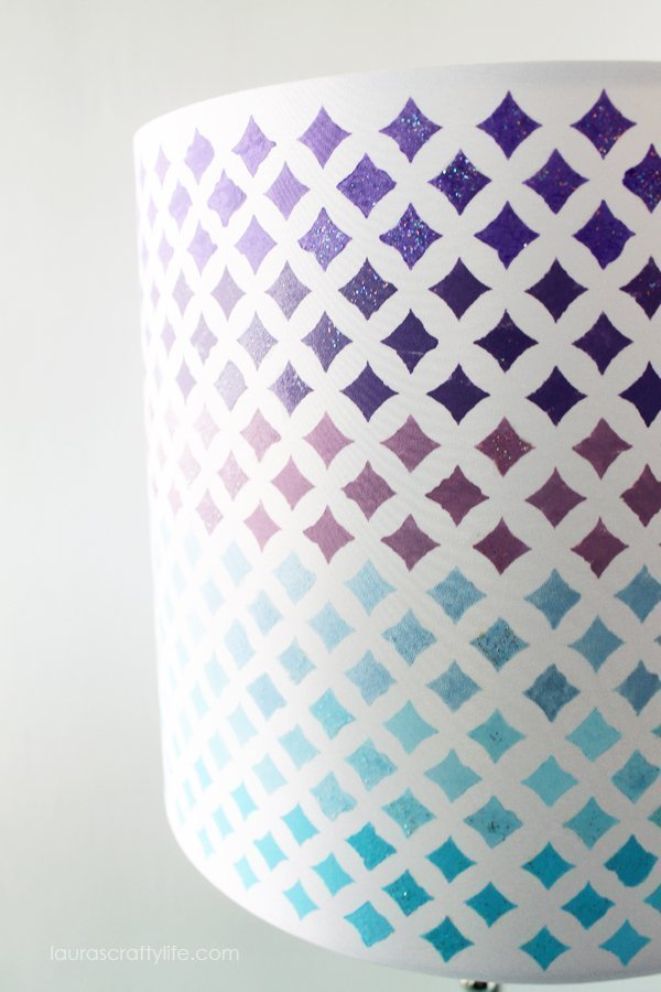 Mod Podge Starlite Stencil Painted Lampshade