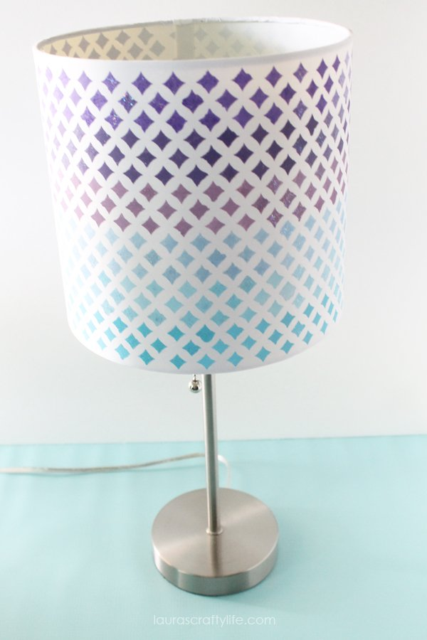 Mod Podge Stenciled Lampshade - Laura's Crafty Life
