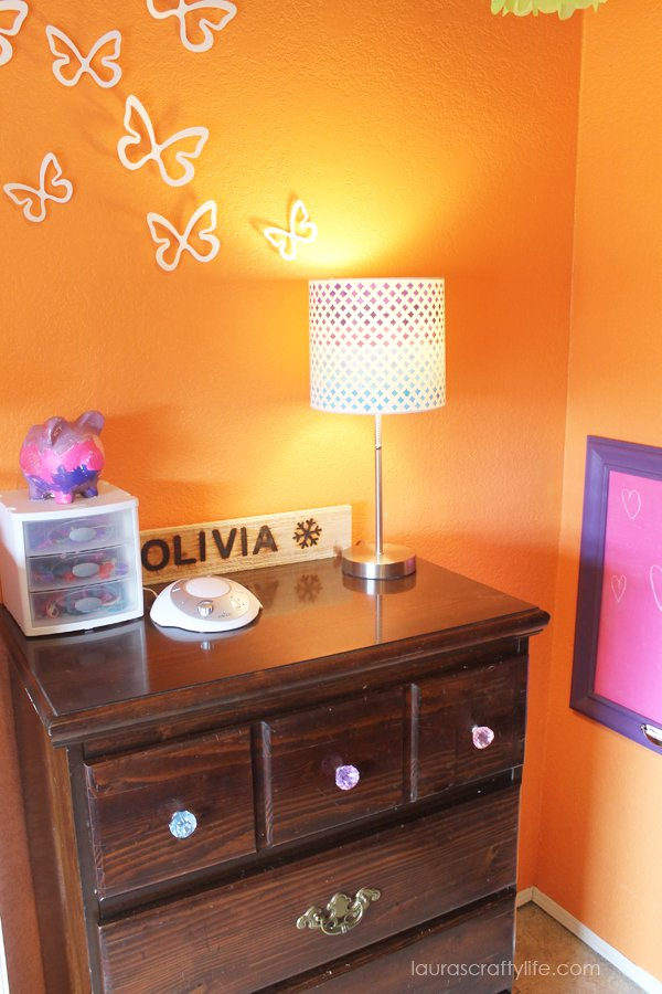Stenciled painted lampshade