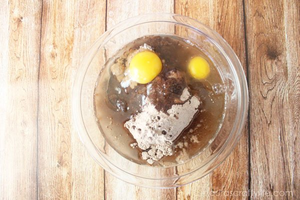 Add ingredients to box brownie mix