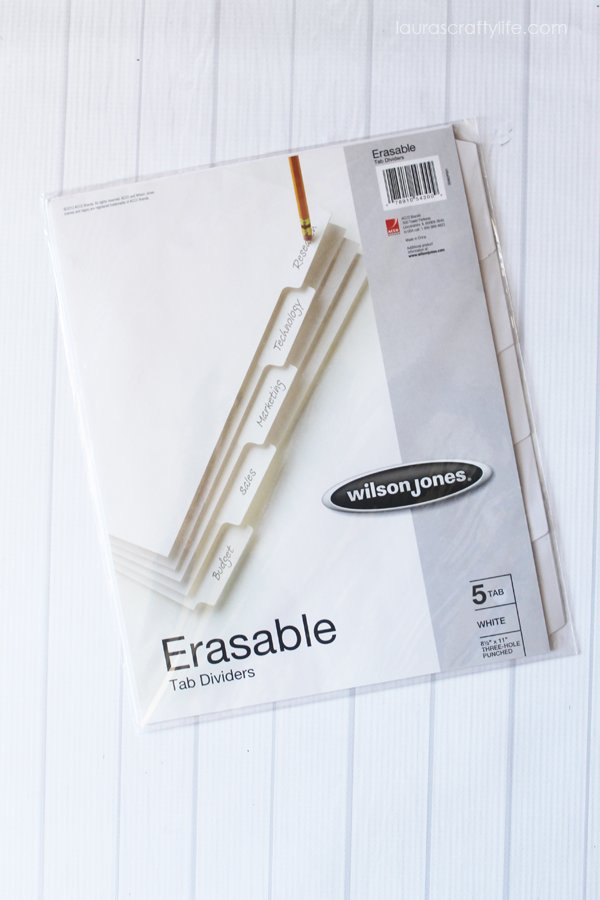 Erasable tab dividers