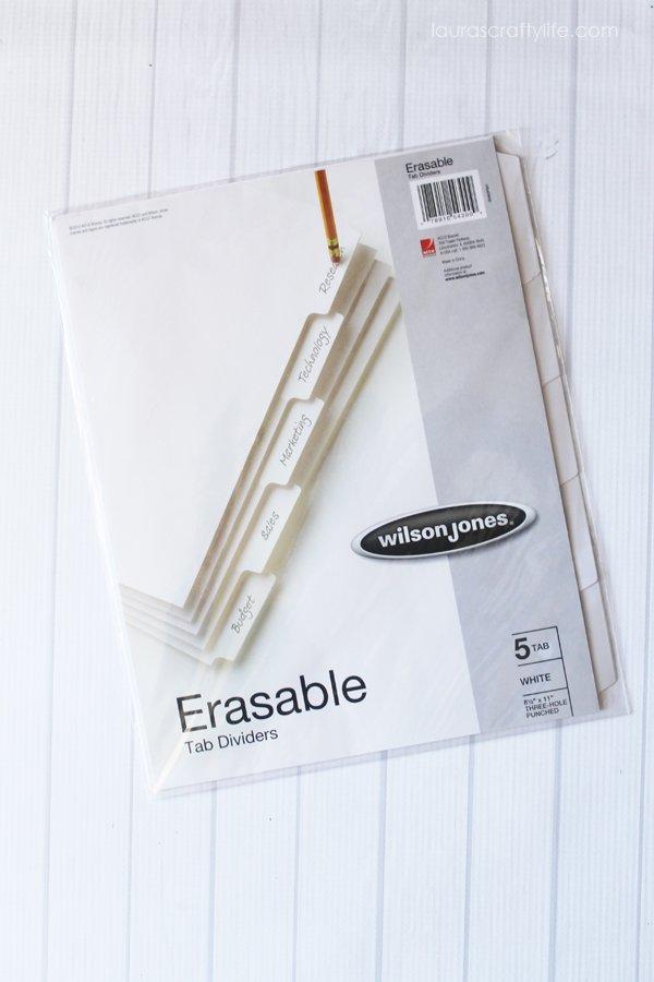 erasable tab dividers