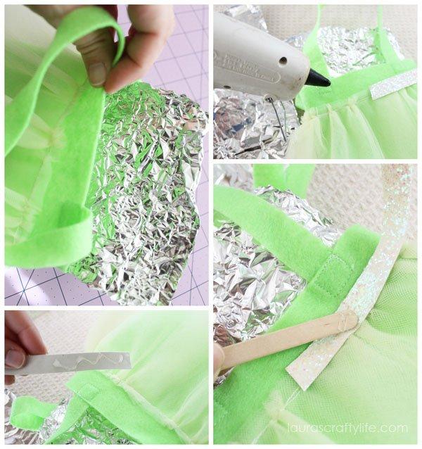 Hot glue trim onto tutu bags