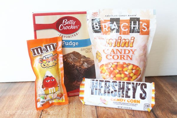 Ingredients needed for candy corn brownies