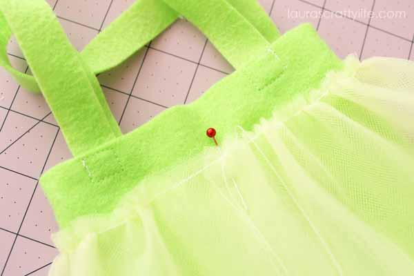Pin tulle to bag