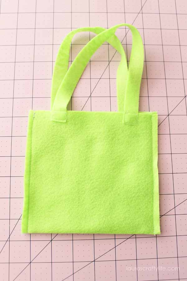 Sew either side of bag