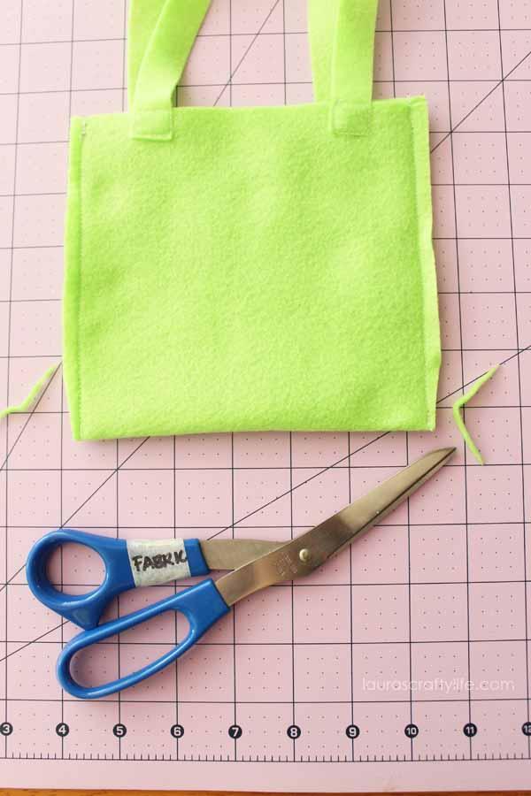 Snip corners of bag