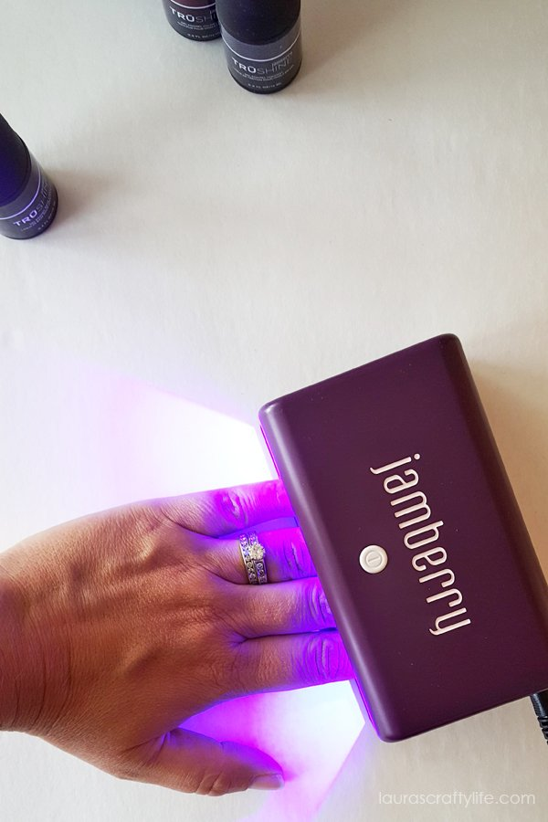 Use LED light to cure each coat