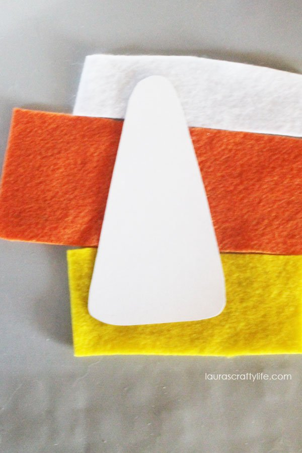 Use template to create felt candy corn