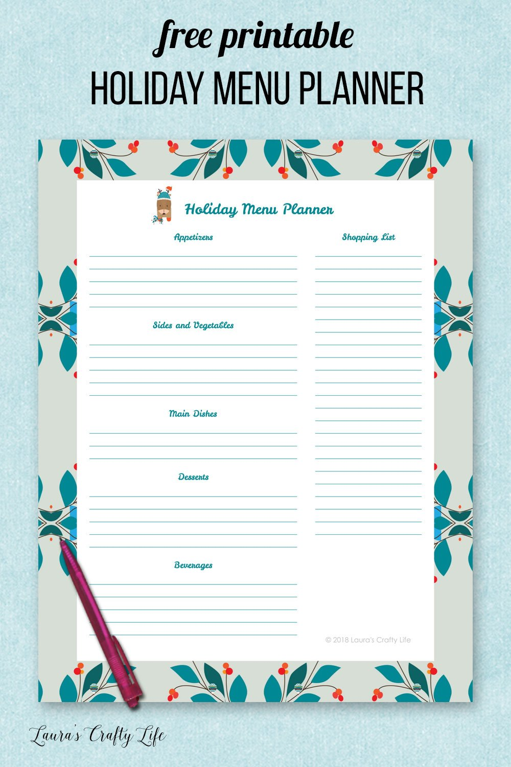 Free printable holiday menu planner. Organize your holiday with a holiday binder. #laurascraftylife #holiday #freeprintable #organize