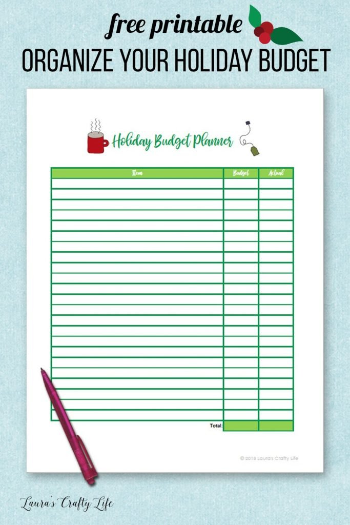 Free printable Organize Your Holiday budget planner