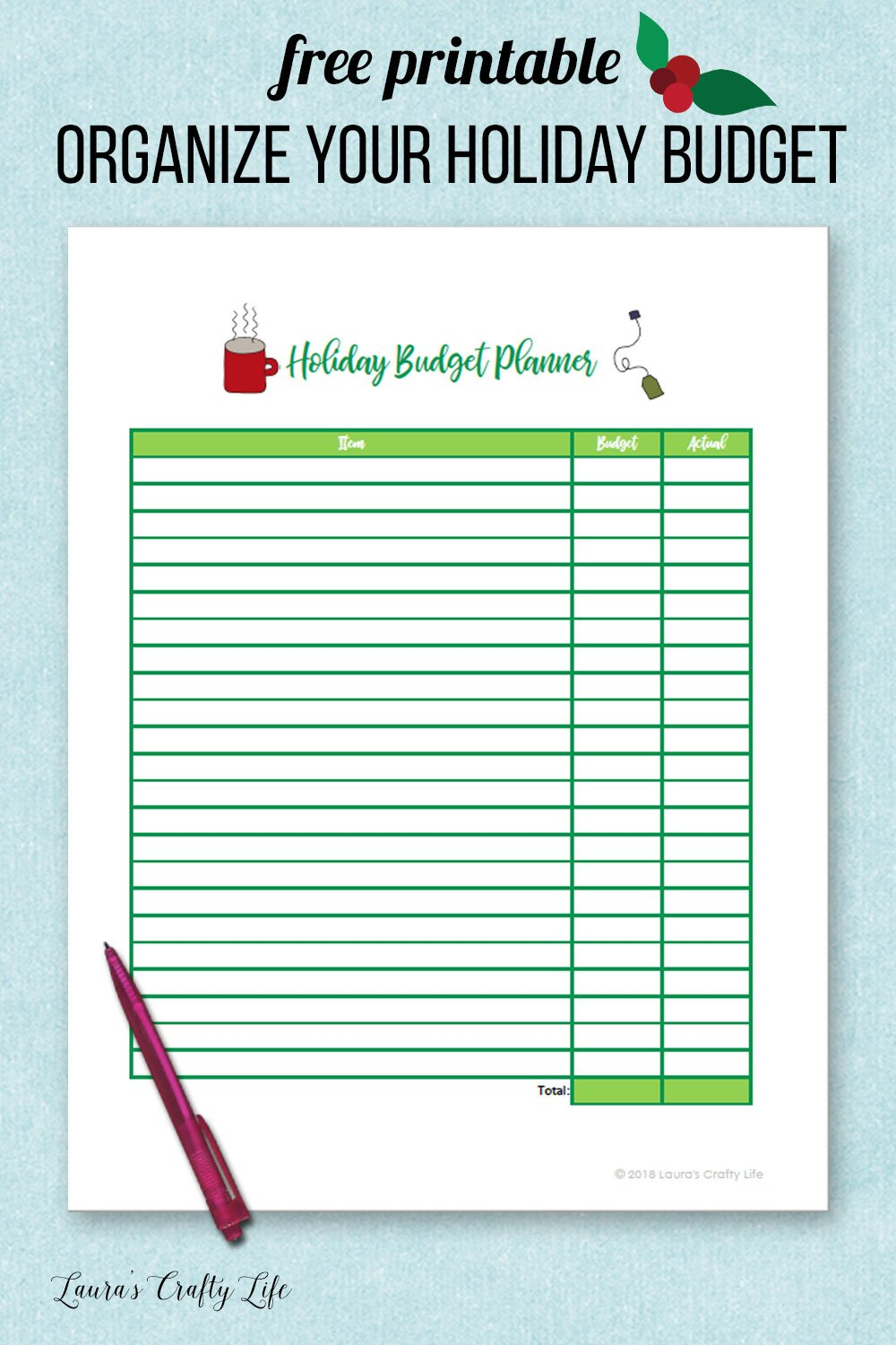 Free printable Organize Your Holidaiy budget planner