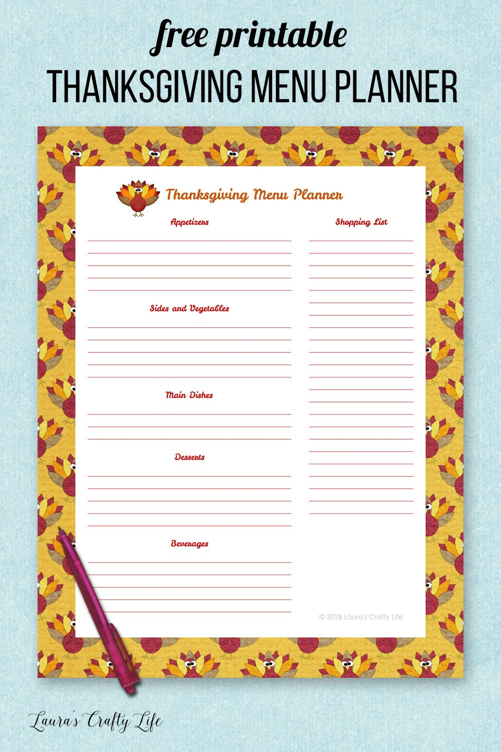 Free printable Thanksgiving menu planner. Organize your holiday with a holiday binder. #laurascraftylife #thanksgiving #freeprintable