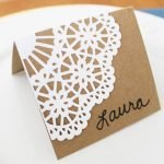 doily holiday place cards