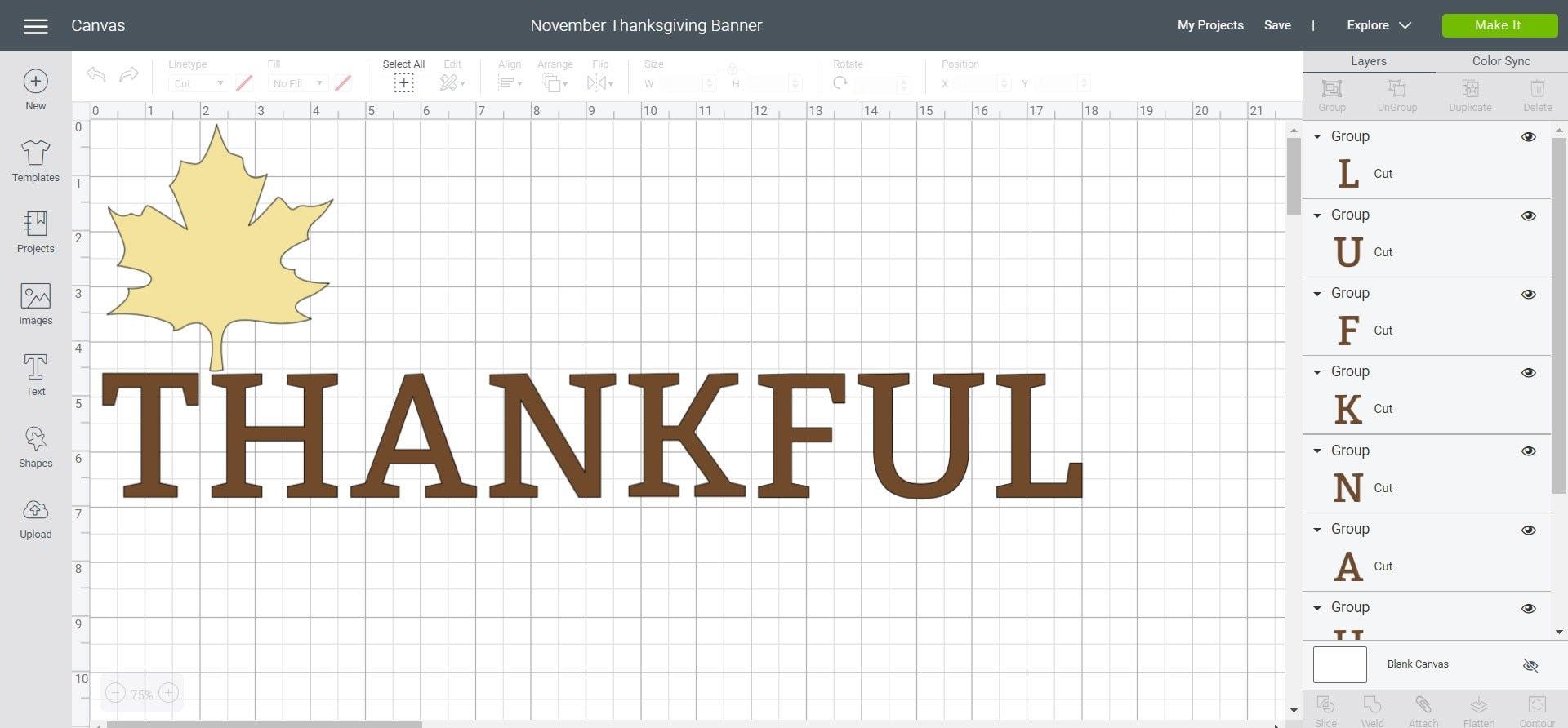 November Thanksgiving Banner - Cricut Design Space