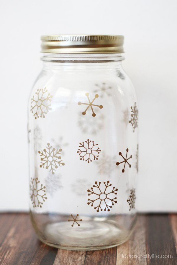 Snowflake Gift Jar - created using a jar, metallic vinyl and a Cricut Explore