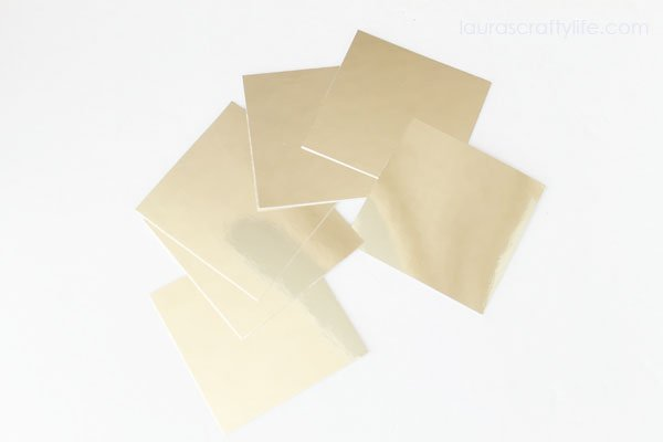3 by 3 squares of gold foil cardstock