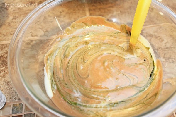 Add green coloring to chocolate cake batter