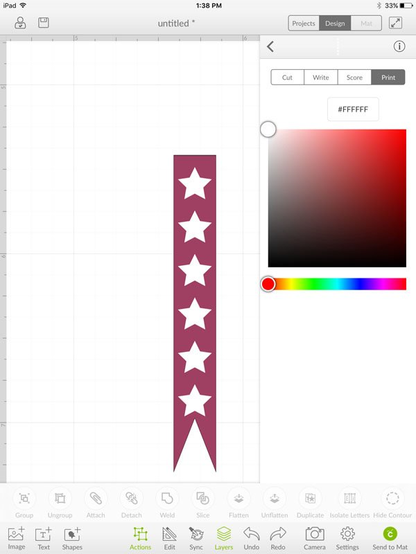 Change star to print and the color to white