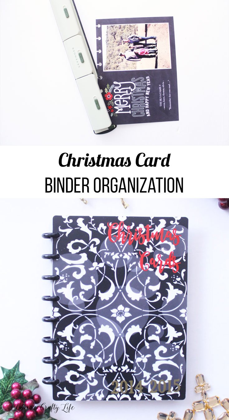 Christmas card binder organization