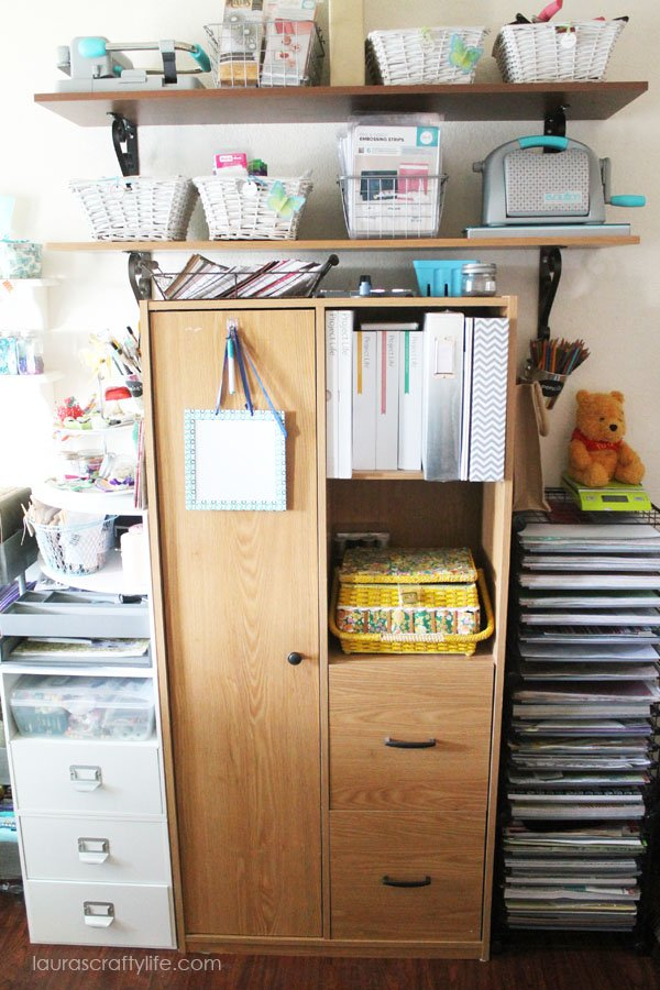 Craft storage cabinet to hold supplies out of sight