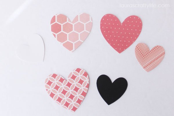 Cut out cardstock hearts