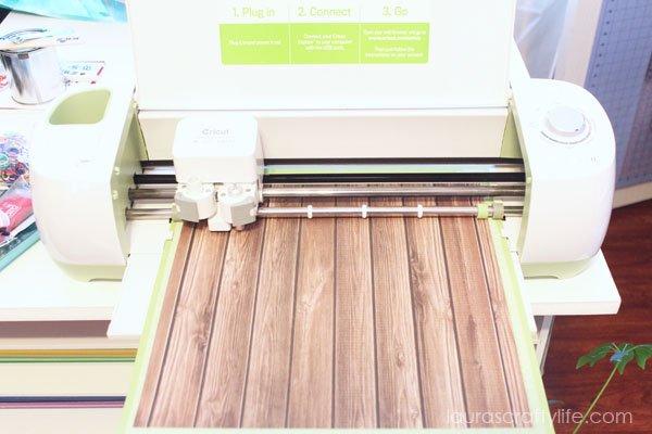 Cut wood grain paper banner pieces with Cricut Explore