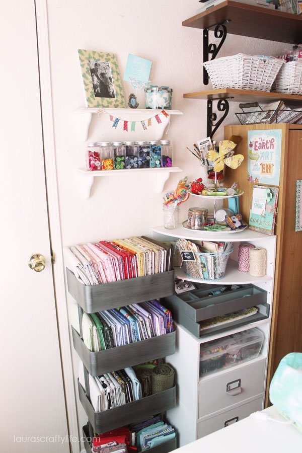 Fabric organization cart and other crafting supplies