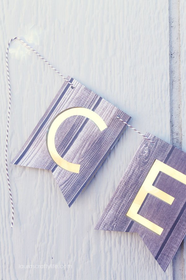 Gold foil and wood grain banner