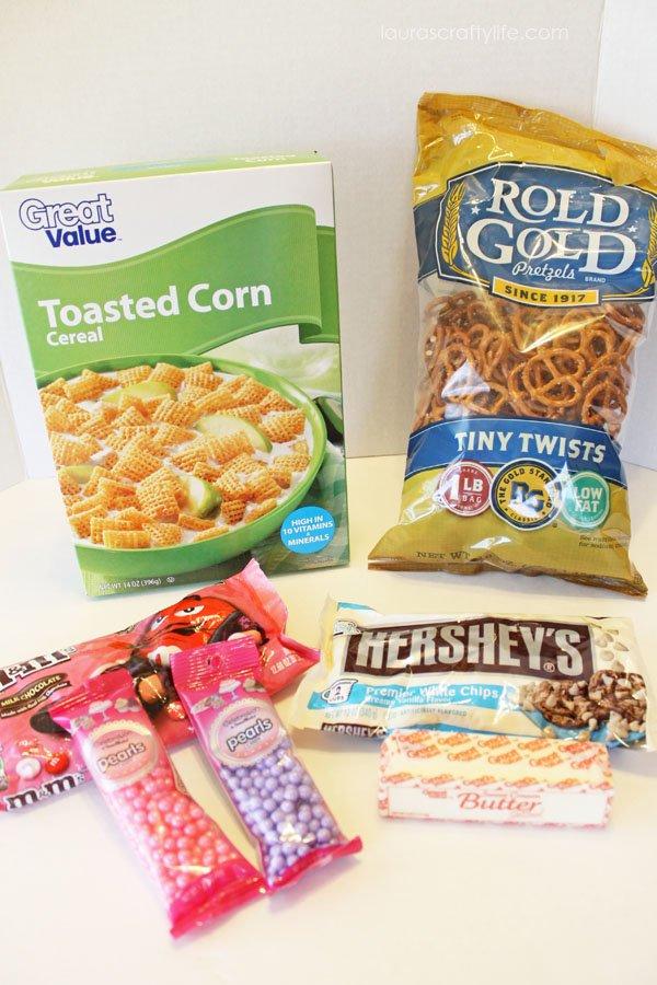 Ingredients for Valentine's trail mix