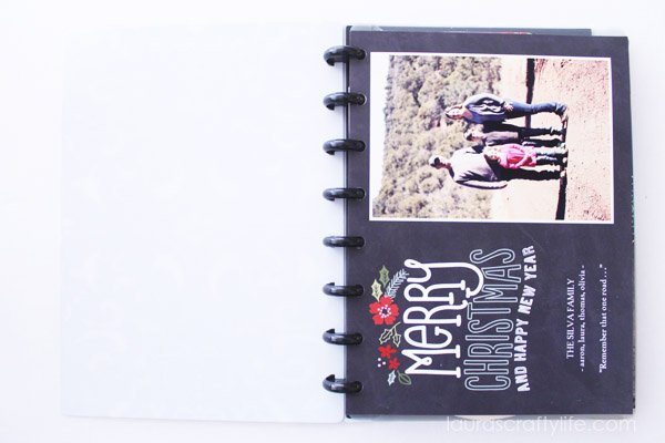 Inside Christmas card binder