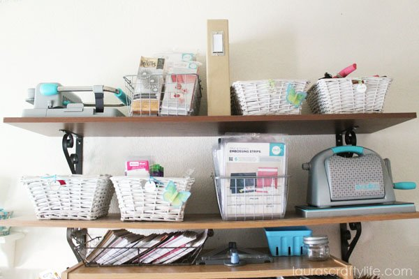 Open shelving for craft supply organization