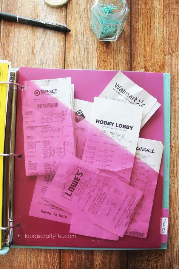 Pocket for receipts in home management binder