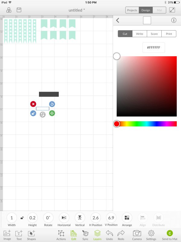 Resize second square to a smaller rectangle and change color to white