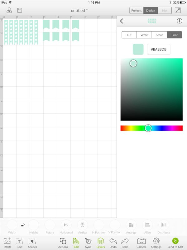 Select print and change the colors of the flag shapes