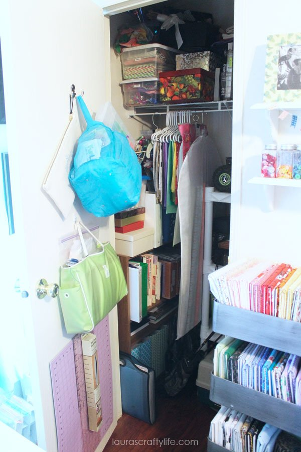Storage closet for gift wrap supplies