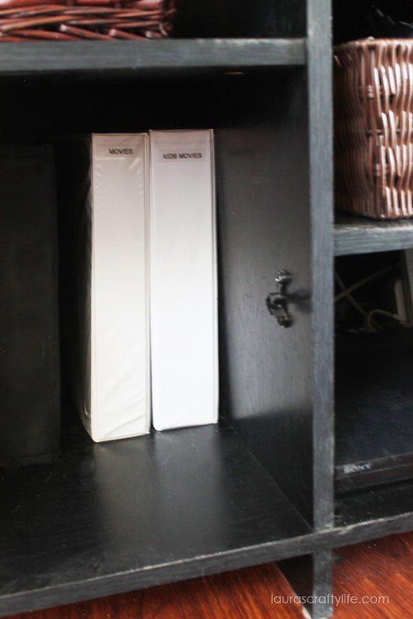 DVD binders in entertainment center