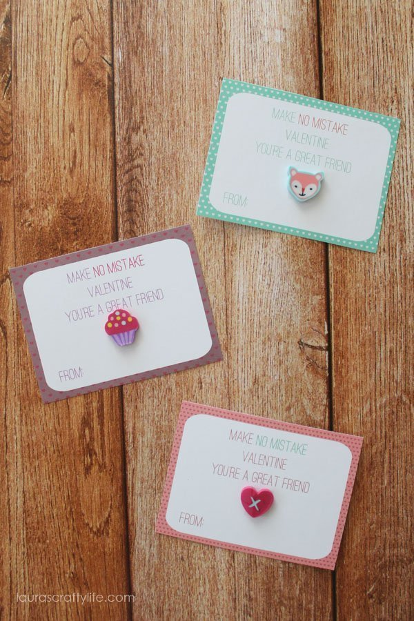Make No Mistake Valentines with mini erasers