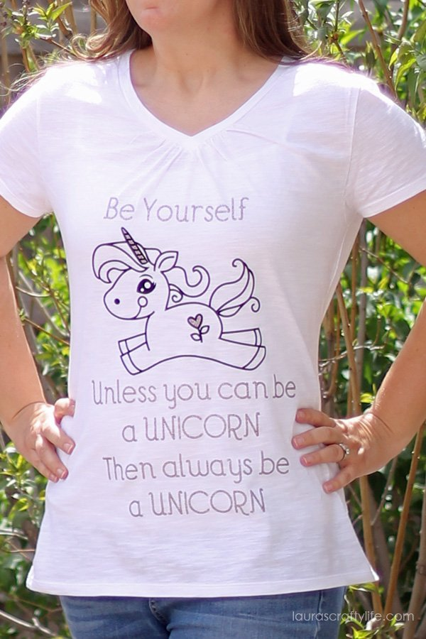 Be Yourself Unicorn Shirt made with the Cricut Explore
