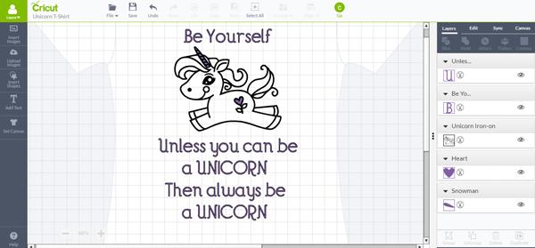 Be a Unicorn DIY T-shirt Cricut Design Space