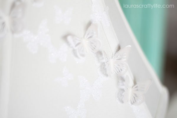 Butterfly Lampshade with iron-on vinyl and paper butterflies