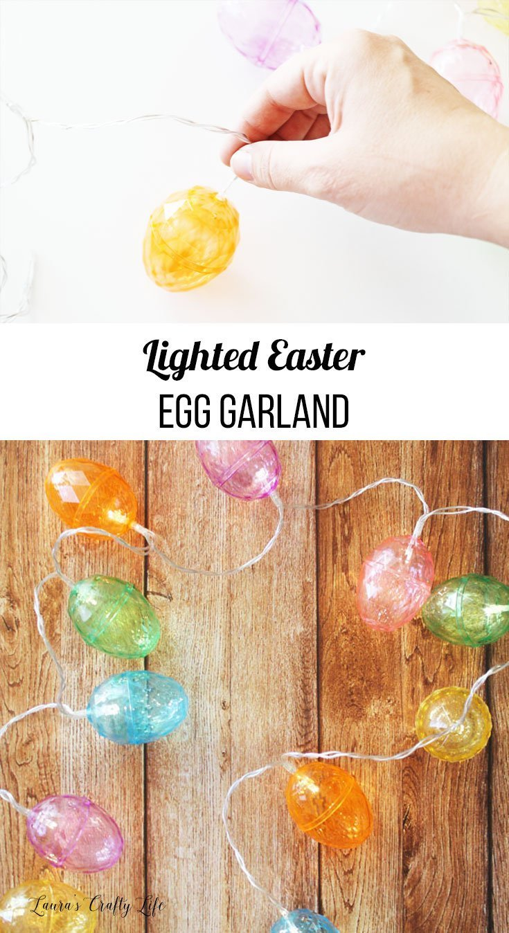 Lighted Easter egg garland with text overlay