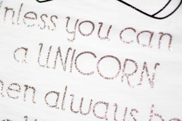 Glitter iron-on Unicorn T-Shirt
